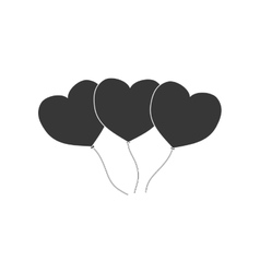 Heart balloons love decoration pictogram vector