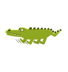 Crocodile suddenly breaking the run cartoon vector