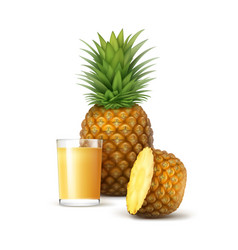 Ripe whole and sliced pineapple with glass ofjuice vector