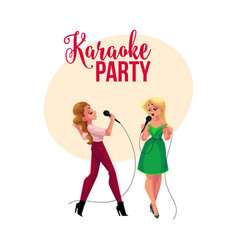 Karaoke party contest banner poster with two vector