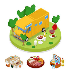 Isometric bbq camper picnic party summer camp vector