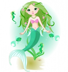 Mermaid girl under the sea vector
