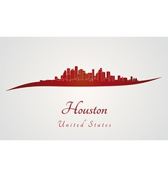 Houston skyline in red vector