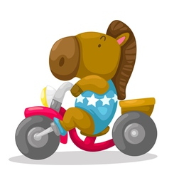 Horse on motorcycle vector