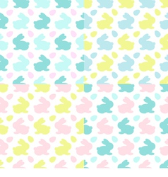 Colourful Bunnies silhouettes patterns vector image