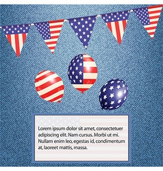 American bunting and balloons on denim background vector image
