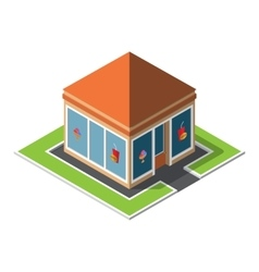 Isometric cafe building icon vector