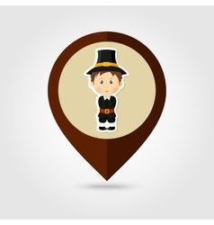 American pilgrim children mapping pin icon vector