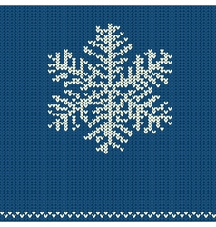 Knitted pattern with snowflake vector