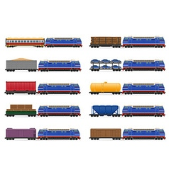 Set icons railway train 02 vector