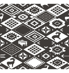 Seamless colorful navajo pattern with rhombus vector image
