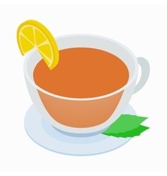 Cup of tea with mint and lemon icon vector