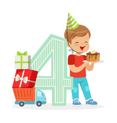 adorable four year old boy celebrating his vector image vector image