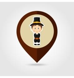 American pilgrim children mapping pin icon vector