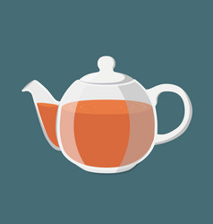 Black tea hot drink teapot with golden brown tea vector
