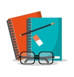 Book glasses and worktime design vector