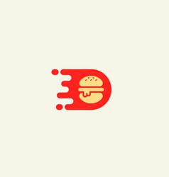burger logo design fast food delivery vector image