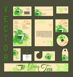 business cards collection with tea concept design vector image vector image