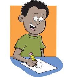 Cartoon boy writing vector