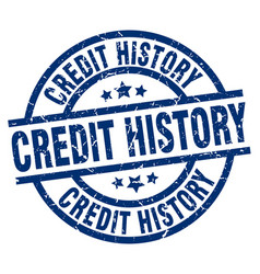 Credit history blue round grunge stamp vector