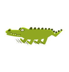 Crocodile suddenly breaking the run cartoon vector
