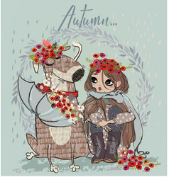 cute autumn girl with dog vector image vector image