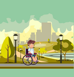 Disabled person in a city park vector