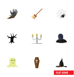 flat icon festival set of tomb spirit spinner vector image vector image