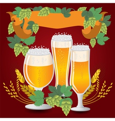 Glasses beer with wheat and hops vector image vector image