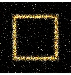 Golden frame on black background vector image vector image