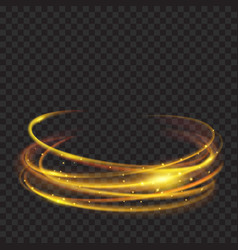 Golden glowing fire rings with glitters vector