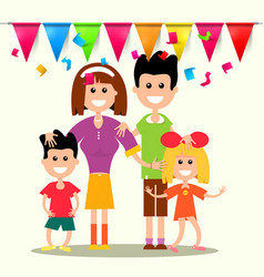 Happy family with flags and confetti vector