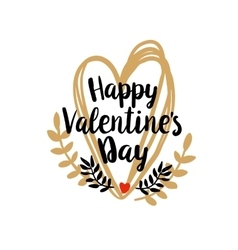 Happy valentines day on doodle heart vector