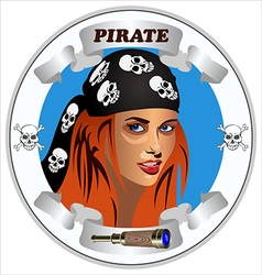 icon girl pirates vector image vector image