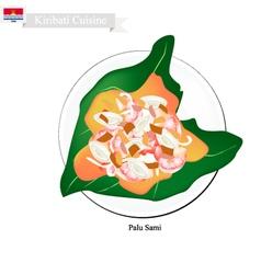 Palu sami or kiribati meat and coconut in taro lea vector