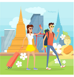 People on vacation in thailand with mobile devices vector
