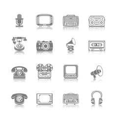 Retro Media Black Icons vector image