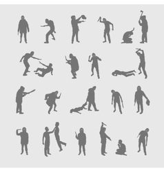 set silhouettes of a maniac vector image