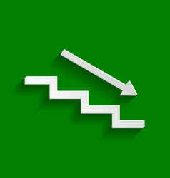 Stair down with arrow paper whitish icon vector