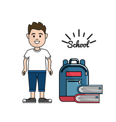 student with his backpack and books tools vector image vector image