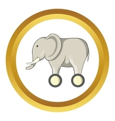 Toy elephant on wheels icon vector image