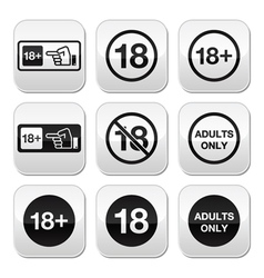 Under 18 adults only warning sign buttons vector image vector image