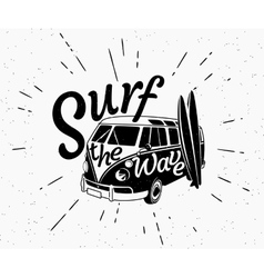 Van surf retro black and white vector image vector image