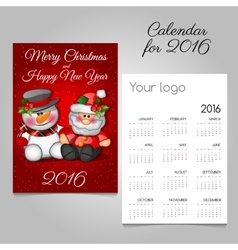 Vintage advent calendar with santa and snowman vector