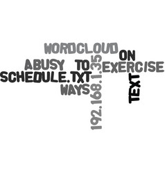 Ways to exercise on a busy schedule text word vector