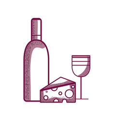 Wine bottle and glass with tasty cheese vector