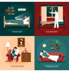 Sleeping poses 2x2 design concept vector