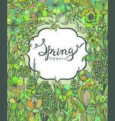 floral background with hand drawn spring flowers vector image