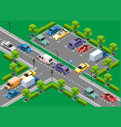 Isometric urban traffic template vector