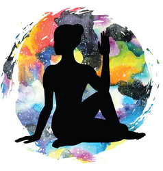 Women silhouette half lord of fishes yoga pose vector